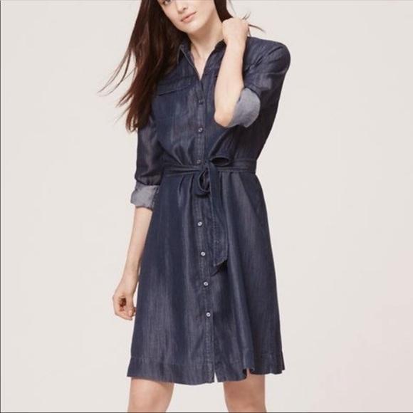 08611cb749ed5f LOFT Dresses & Skirts - LOFT Dark Chambray Button Down Shirt Dress Large